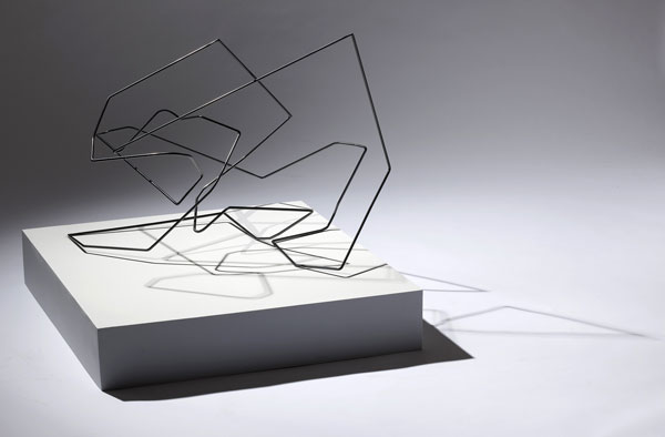 175 x 180 Scrunch 2009 powder-coated steel, pine, acrylic and cast shadow 73 x 90 x 90 cm