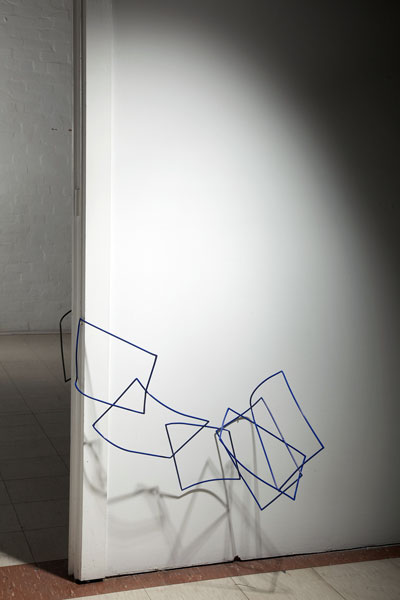 Untitled (paper furl blue- installation view) 2009 powder-coated steel and cast shadow 56 x 92 x 35 cm
